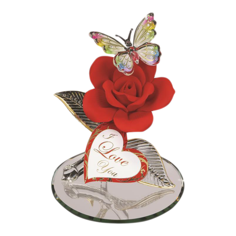 Handcrafted Glass Baron Butterfly Figurine  Red Rose Accented with Swarovski Crystal & 22kt Gold