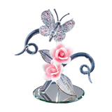 Glass Baron Crystal Butterfly Decorated with Pink Porcelain Roses Accented with Swarovski Crystal