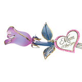 Glass Baron Handcrafted Frosted Pink Pearl Long-Stemmed Rose Accented with Real 22Kt Gold