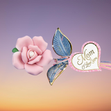 "Beautiful Handcrafted Porcelain Glass Baron Pink Rose Crystal Heart Embossed with ""Mom, I Love You"" Accented with Real 22kt Gold"