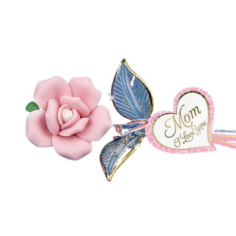 "Glass Baron ""Pink Rose"" Crystal Heart Embossed with ""Mom, I Love You"" Accented with Real 22kt Gold"