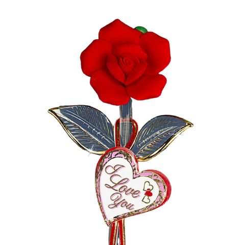 "Glass Baron Red Rose Crystal Heart Embossed with ""I Love You"" Accented with Real 22kt Gold"