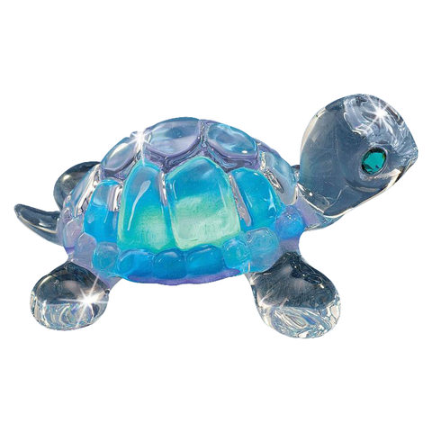 Glass Baron Aqua Blue Turtle Handmade Figurine Accented with Swarovski Crystal Eyes