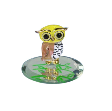 Glass Baron Handcrafted Figurine Barn-y Owl Attached to round Mirror Base Accented with 22kt Gold