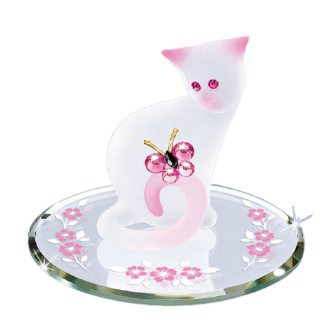 Glass Baron Handcrafted Pink Pretty Kitty Cat Collection Figurine Accented with Swarovski Crystals