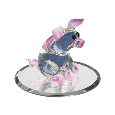 Glass Baron Handcrafted Charming Little Barn Yard Pig Accented with Genuine Swarovski Crystals