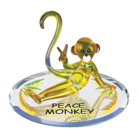 "Glowing Yellow Glass Baron ""Peace Monkey"" Figurine Sitting on Painted Palm Trees Beveled Mirror Plate Accented with Swarovski Crystal Eyes"