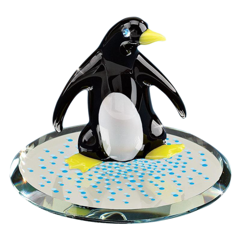 Glass Baron Snow Dance Penguin Figurine Accented with Swarovski Crystal on Round Glass Mirror Base