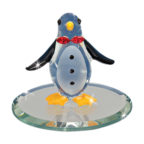 Glass Baron Playful and Colorful Handcrafted Penguin Figurine Accented with Swarovski Crystals