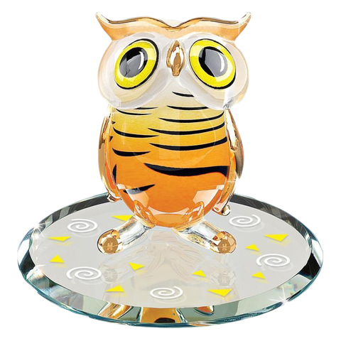 Glass Baron ~ Hoot Owl Figurine with 22 kt. gold accents ~ Brand New in Box