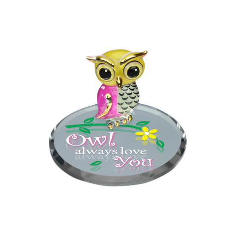 "Glass Baron ""Owl Always Love"" You Handcrafted Figurine Accented with Real 22Kt Gold"