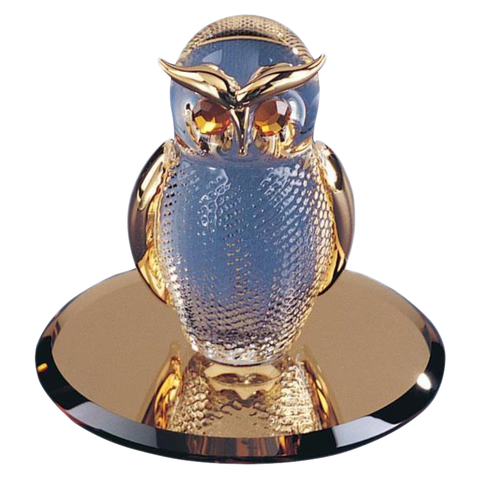 Glass Baron ~ Night Owl Figurine with 22 kt. gold accents ~ Brand New in Box