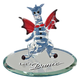 "Handcrafted Glass Figurine ""Let's Dance Dragon"" Accented with Swarovski Crsytal Eyes and Button"