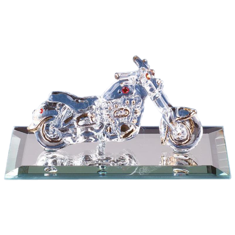 Glass Baron Handcrafted Motorcycle Figurine Accented with Swarovski Crystals Mounted on Mirror Base