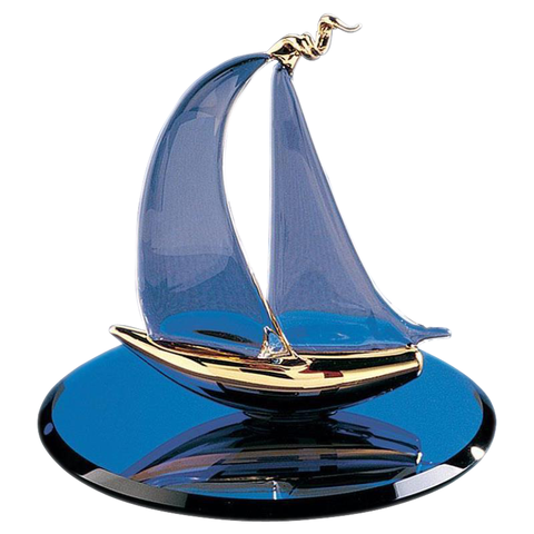 Glass Baron ~ Sailboat Figurine ~ 22 kt. gold edges ~ S2 629G-B