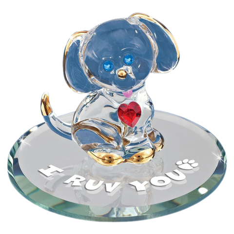 Glass Baron ~ Puppy I Ruv You ~ Crystal Heart & 22kt gold accents ~ New in Box