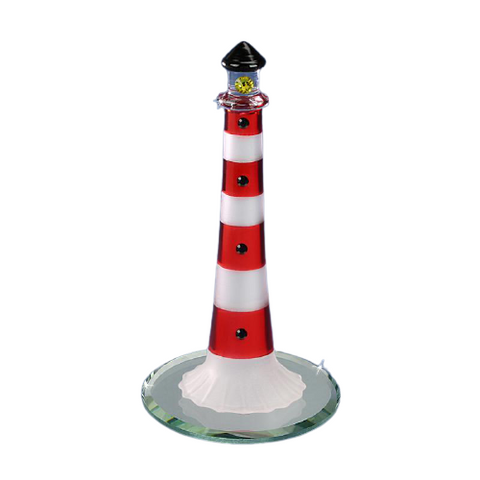 Glass Baron Handcrafted Red Lighthouse Figurine On Round Mirror Base Accented with Swarovski Crystal