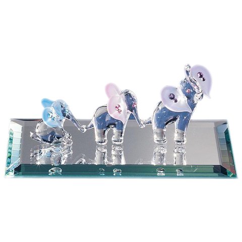 Glass Baron ~ Elephant Family with Crystal Eyes & Ear Accents ~ Brand New in Box