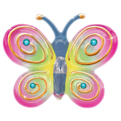 Glass Baron Beautiful Pastel Butterfly Accented with Swarovski Crystal and 22Kt Gold