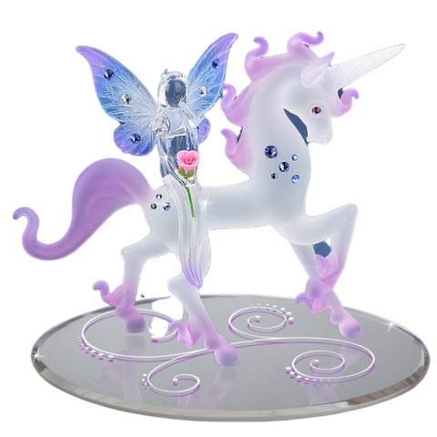Glass Baron Magical Pink Unicorn with Fairy Accented with Swarovski Crystal Mounted On Mirror Base