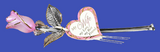 "Glass Baron Beautiful Long Stemmed Frosted Pink Rose Crystal Heart Attached Printed ""My Wife My Love My Best Friend"" Accent with 22kt Gold"