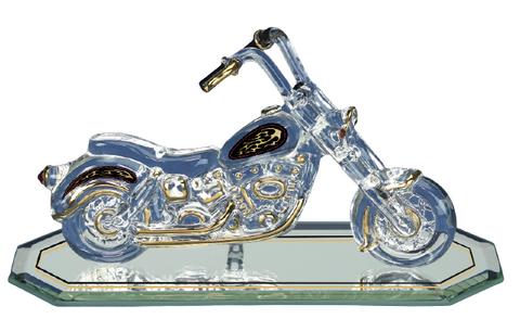 "Glass Baron ""The Outlaw Motorcycle"" Figurine Accented with Crystal and Real 22Kt Gold"