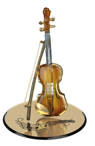 Glass Baron Elegant Brown Violin Figurine Accented with Real 22kt Gold