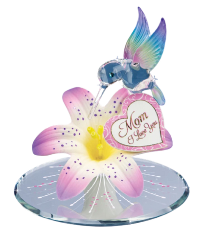 "Glass Baron Hummingbird On Pink Tiger Lily Figurine ""Mom I Love You"" Accented With Swarovski Crystal"