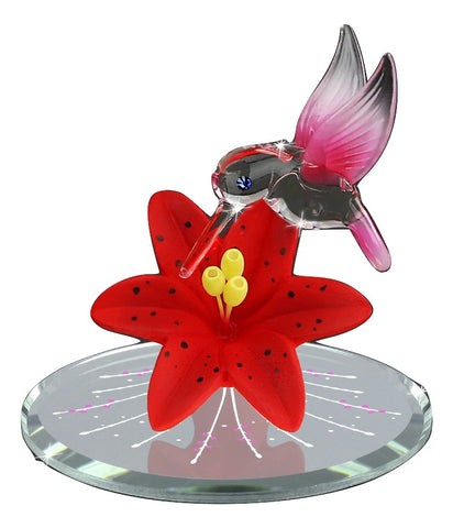 Glass Baron Beautiful Red Hummingbird Swarovski Eyes Accent with Red Floral Design Attached on Mirror Base Valentine's Day Edition