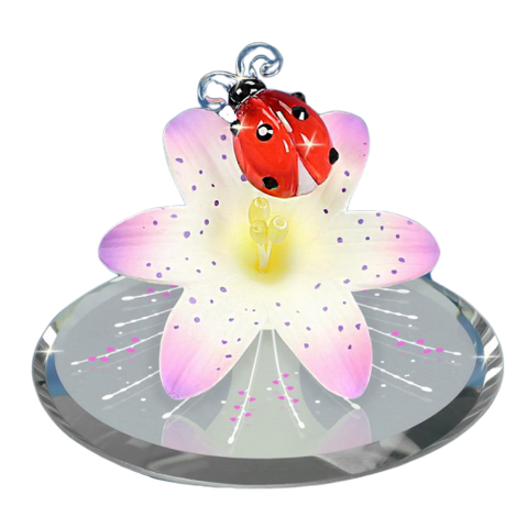 Glass Baron Handcrafted Figurine Ladybug on Lily with Swarovski Crystal Mounted on Mirror Base