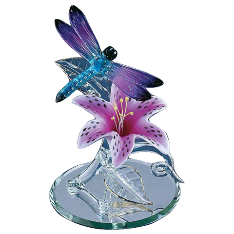 Glass Baron Blue and Purple Dragonfly with Black-edged Wings On Pink Porcelain Lily Flower