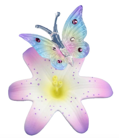 Glass Baron Handcrafted Stunning Butterfly on Lavender Lily Figurine Accented with Swarovski Crystal