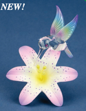 Glass Baron Hummingbird Porcelain Lavender Lily Figurine Accented with Swarovski Crystal