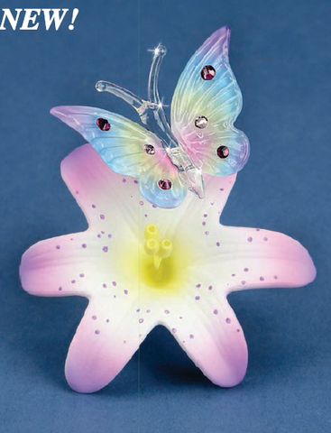 Handcrafted Figurine Glass Butterfly & Pink Lily with Swarovski Crystal Glass Baron