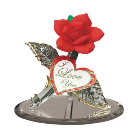 "Glass Baron Handcrafted Red Rose Figurine ""I Love you"" Accented with 22kt Gold"