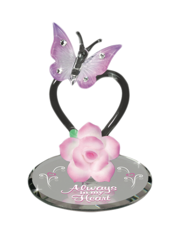 "Glass Baron ""Always in My Heart"" Butterfly Figurine Accented with Crystals, Mother's Day Gift"