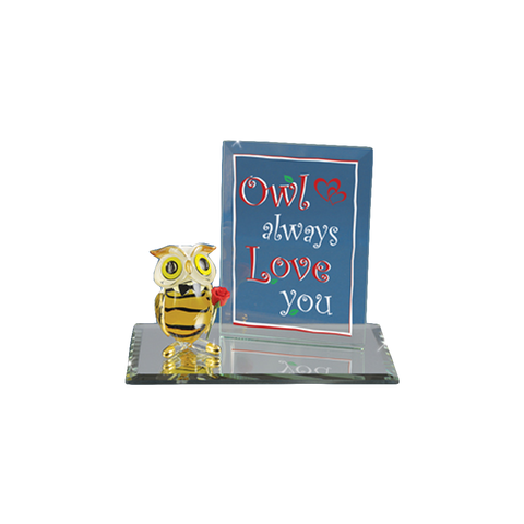 "Glass Baron Handcrafted ""Always Love You"" Owl Holding Rose Figurine Accented with 22Kt Gold"