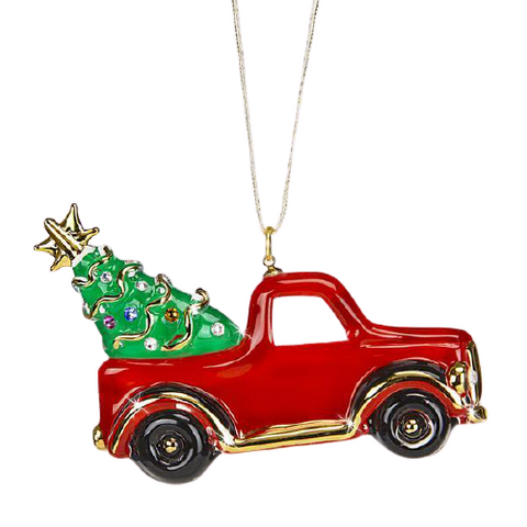 Glass Red Christmas Truck Ornament Accented with Swarovski Crystals and 22Kt Gold