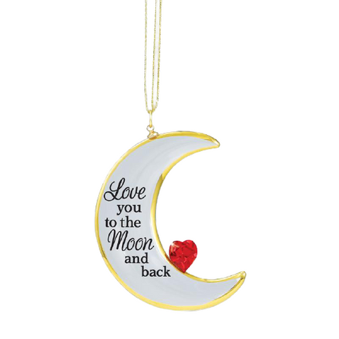 "Crescent Moon Ornament by Glass Baron ""Love you to the Moon and Back"" with Crystal Heart"