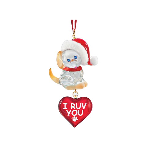 Glass Baron ~ Dog Puppy I Ruv You Christmas Ornament ~ W3 116-RU