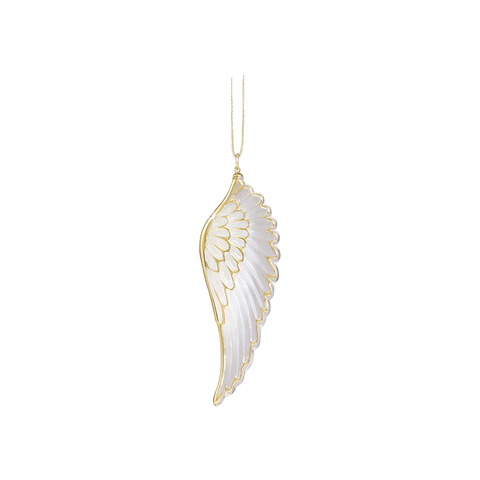 Angel Wing Christmas Ornament ~ 22kt gold trim  W3 273
