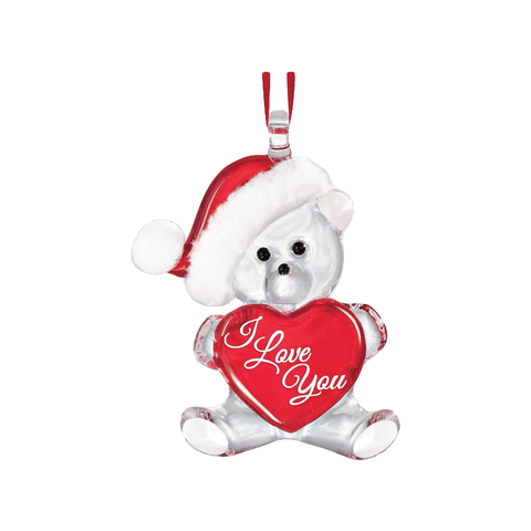 "Glass Baron Bear Holding Red Heart Embossed with ""I Love You"" Ornament"