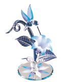 Glass Baron Hummingbird with White and Blue Lily Accented Swarovski Crystal and Real 22kt Gold