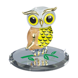 "Glass Baron ""Big Barn-Y"" Owl Figurine Trimmed into 22kt Gold Accented with Swarovski Crystal Mounted On Mirror Base"