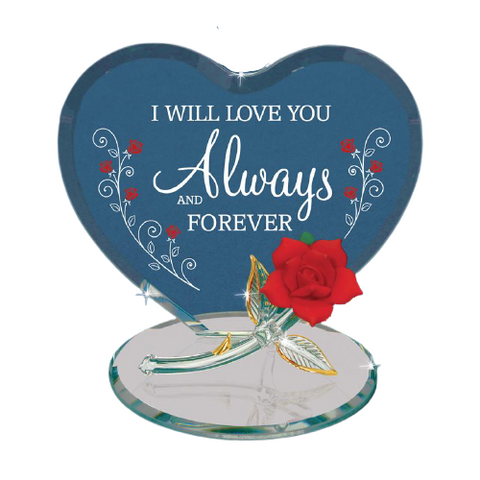 Glass Baron Rose Figurine Love You Always & Forever Accented with Real 22Kt Gold, Valentine Gift