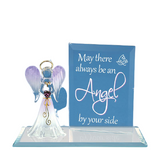 Glass Baron Angel By Your Side Holding Crystal Heart Figurine, Swarovski Crystal & 22Kt Gold Accents