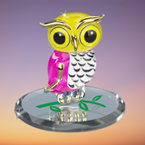Glass Baron Beautiful Owlet Figurine Accented with 22kt Gold Paint Attached on Handpainted Green Branch Beveled Mirror Base