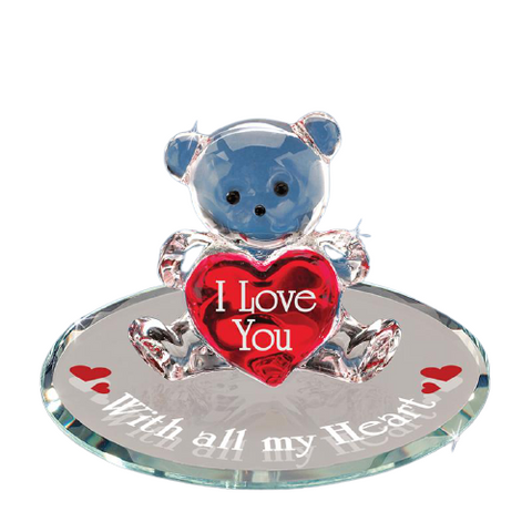 "Glass Baron Handcrafted Figurine of Bear Holding Red Heart ""With All My Heart"""