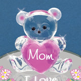 Handcrafted Glass Bear Figurine Love You Mom by Glass Baron Attached on Round Mirror Base