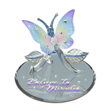 "Glass Baron Rainbow-hued Butterfly ""Believe in Miracles"" with Swarovski Crystal Accents"